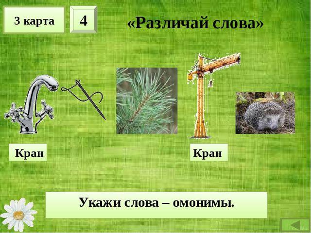 3 карта 4 «Различай слова» Укажи слова – омонимы. Кран Кран