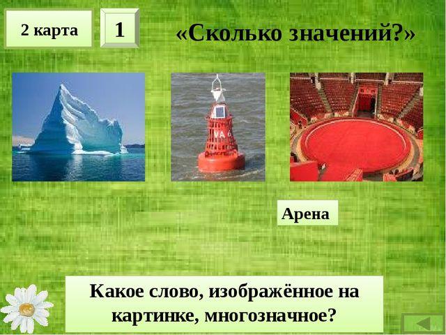 2 карта 2 «Сколько значений?» Какое слово, изображённое на картинке, многозна...