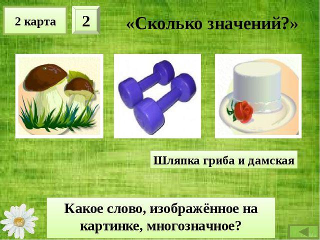 2 карта 3 «Сколько значений?» Какое слово, изображённое на картинке, многозна...
