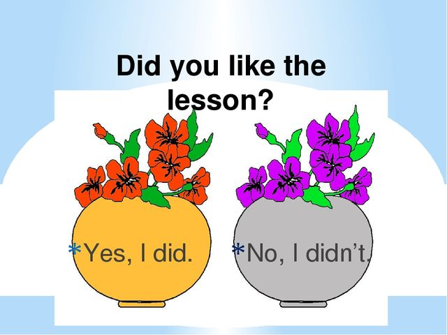 Yes, I did. No, I didn't. Did you like the lesson?