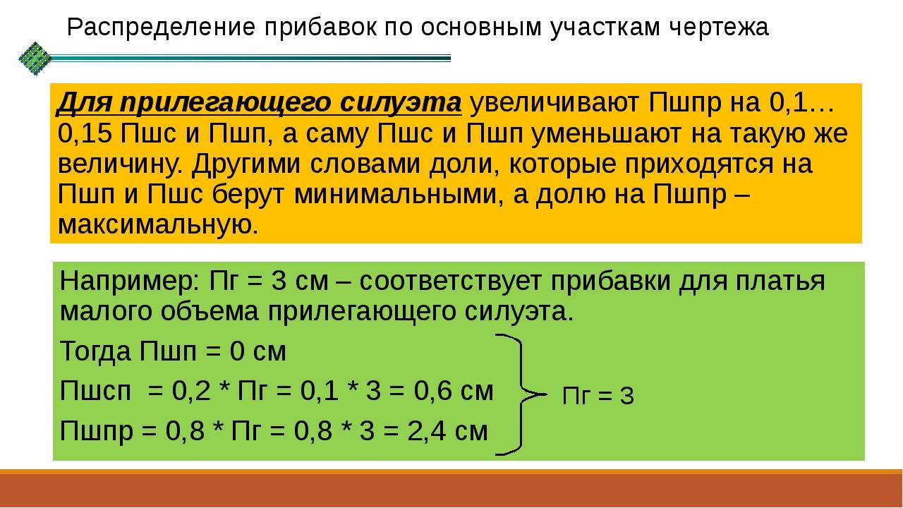 Для прилегающего силуэта увеличивают Пшпр на 0,1…0,15 Пшс и Пшп, а саму Пшс и...