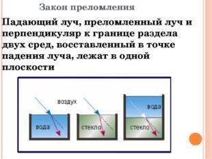 Закон преломления Падающий луч, преломленный луч и перпендикуляр к границе ра