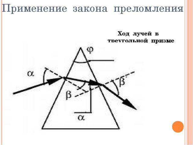 Применение закона преломления Ход лучей в треугольной призме