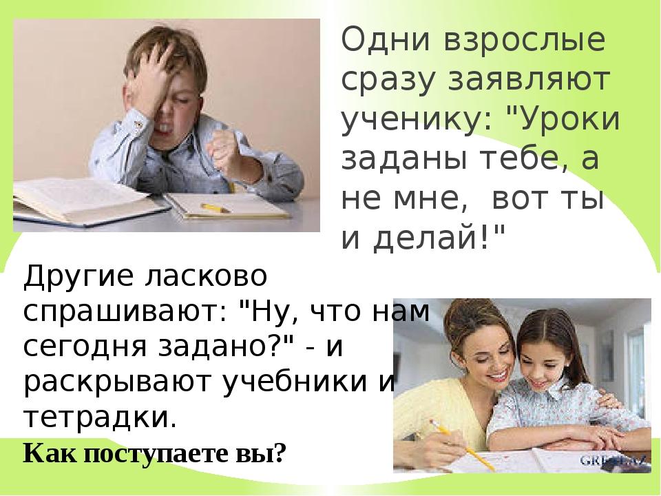"""Одни взрослые сразу заявляют ученику: """"Уроки заданы тебе, а не мне, вот ты и..."""