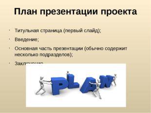 План презентации проекта Титульная страница (первый слайд); Введение; Основна