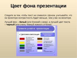Цвет фона презентации Следите за тем, чтобы текст не сливался с фоном, учитыв