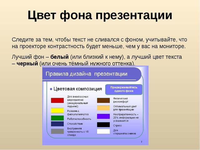 Цвет фона презентации Следите за тем, чтобы текст не сливался с фоном, учитыв...