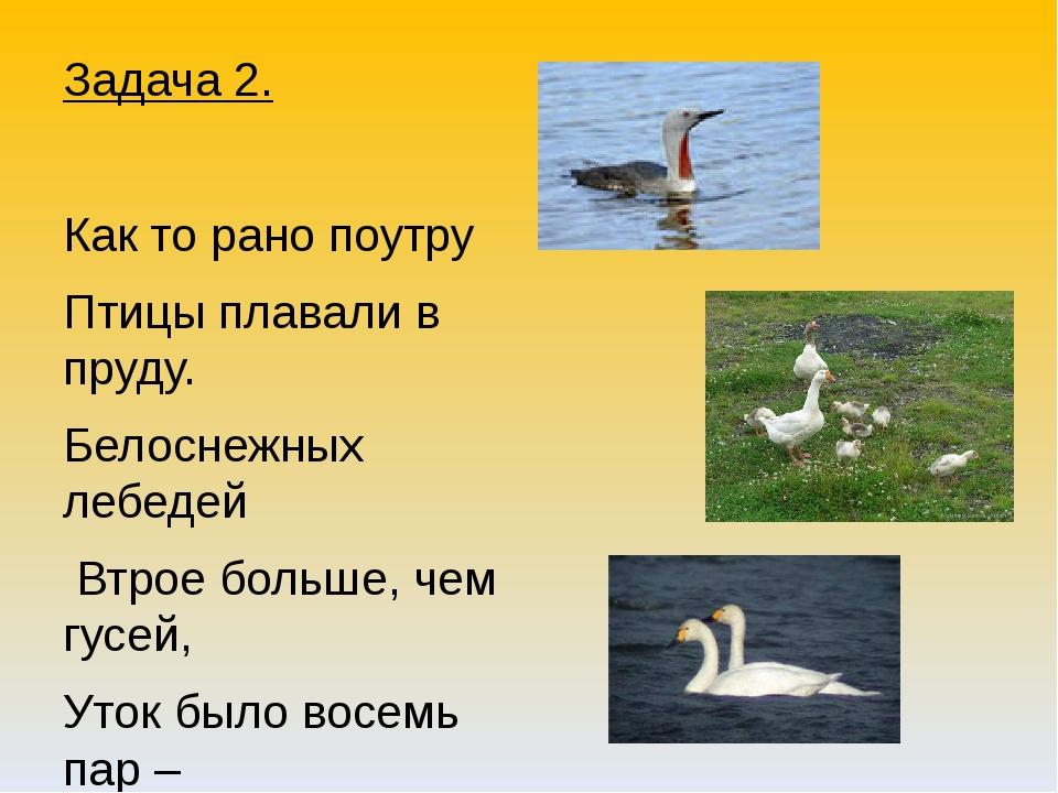 Задача 2. Как то рано поутру Птицы плавали в пруду. Белоснежных лебедей Втрое...