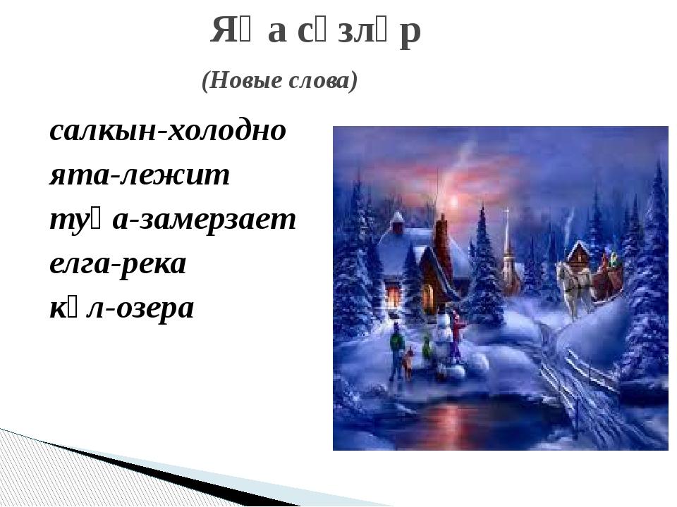 салкын-холодно ята-лежит туңа-замерзает елга-река күл-озера Яңа сүзләр (Новые...