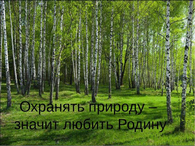 Охранять природу – значит любить Родину