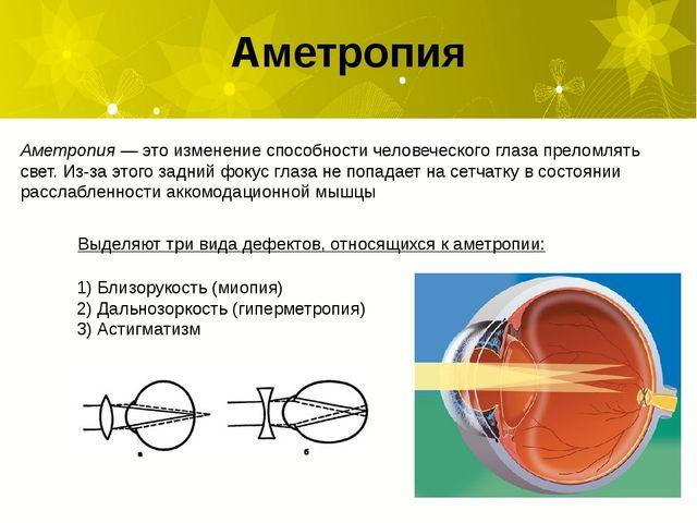 Аметропия Аметропия— это изменение способности человеческого глаза преломлят...