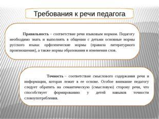 Требования к речи педагога Правильность– соответствие речи языковым нормам.