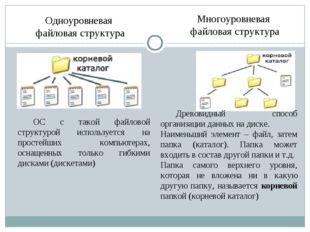 Одноуровневая файловая структура Многоуровневая файловая структура ОС с тако