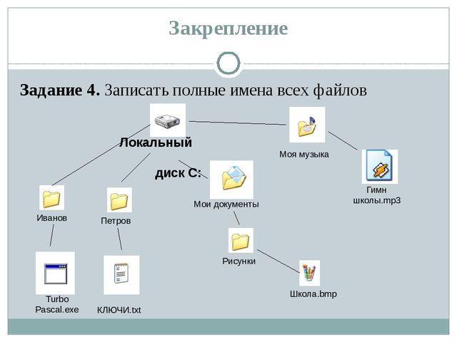 Закрепление Задание 4. Записать полные имена всех файлов