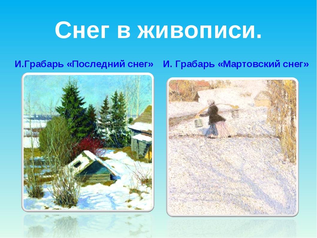 Снег в живописи. И.Грабарь «Последний снег» И. Грабарь «Мартовский снег»