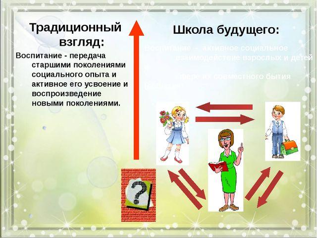 Традиционный взгляд: Воспитание - передача старшими поколениями социального...