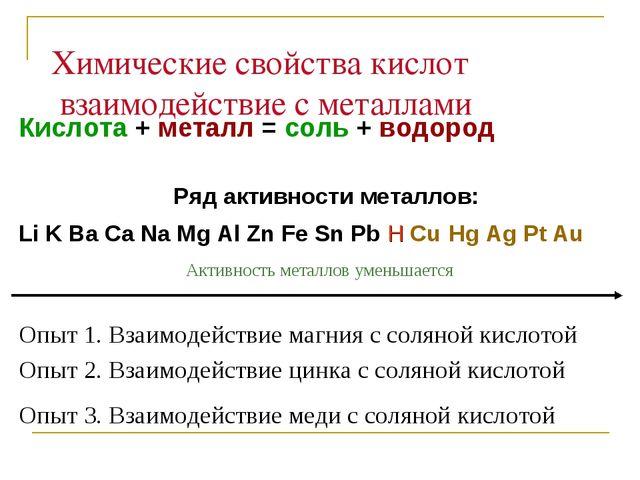Химические свойства кислот взаимодействие с металлами Кислота + металл = соль...