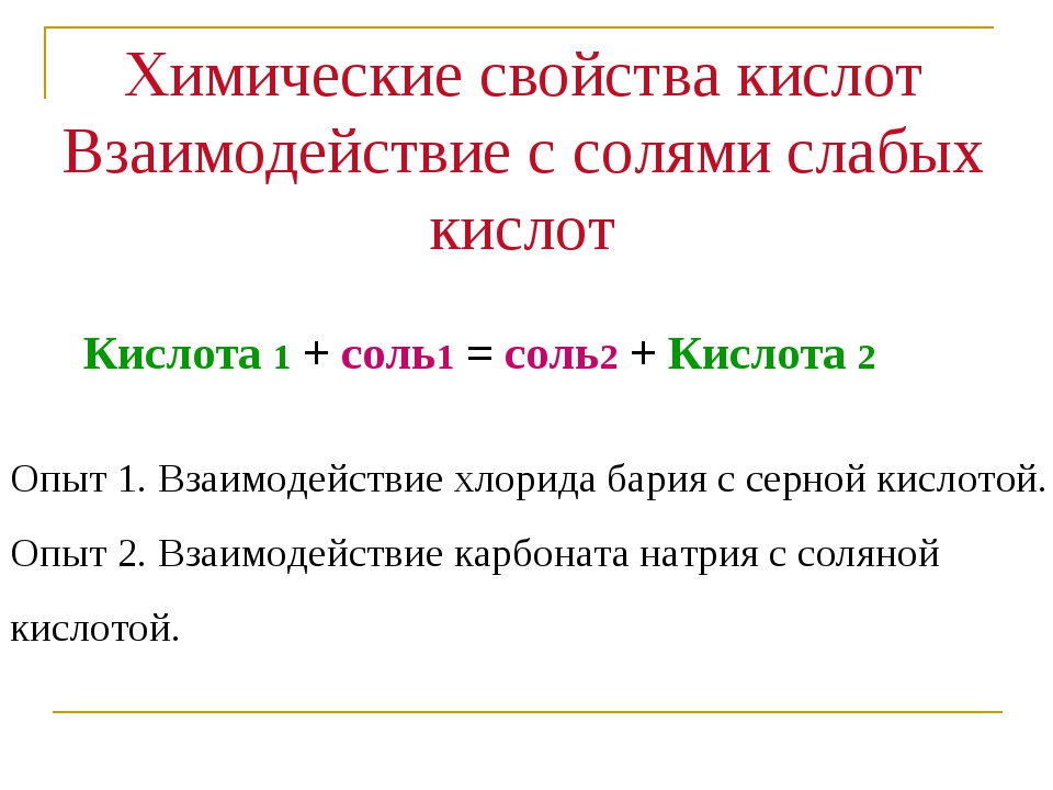 Кислота 1 + соль1 = соль2 + Кислота 2 Химические свойства кислот Взаимодейст...