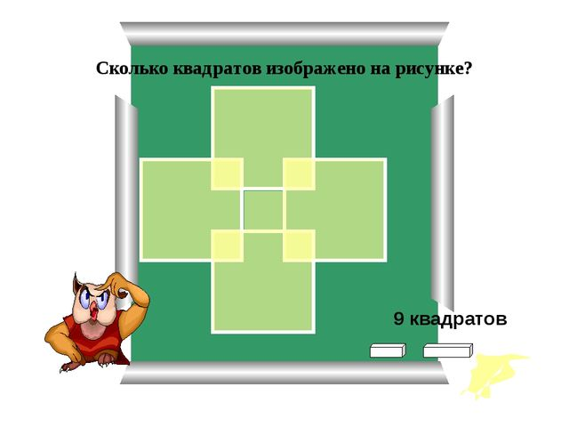 Сколько квадратов изображено на рисунке? 9 квадратов