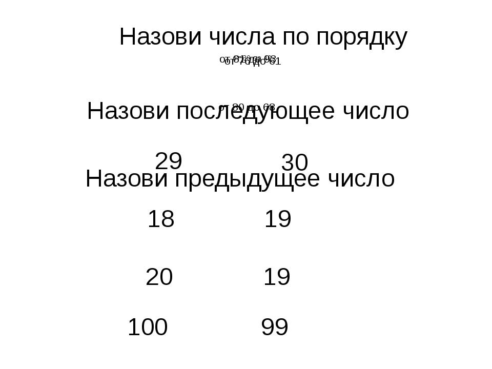 Назови числа по порядку от 30 до 40 от 81 до 93 Назови последующее число 29 1...