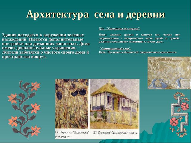 Архитектура села и деревни Здания находятся в окружении зеленых насаждений. И...