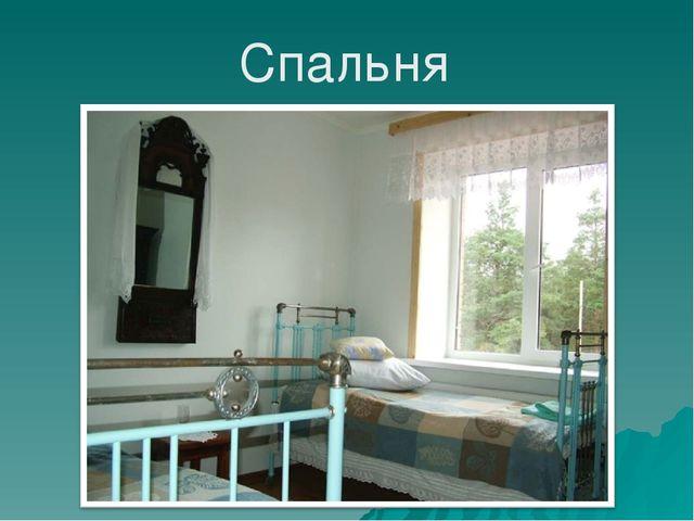 Из залы дверь ведёт в спальню, где стояла большая кровать с горой перин и под...