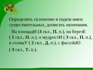 Определить склонение и падеж имен существительных, дописать окончания. На пл