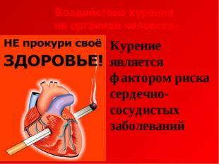 Воздействие курения на организм человека: Курение является фактором риска сер