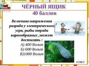 ЧЁРНЫЙ ЯЩИК 40 баллов ОТВЕТ Величина напряжения разряда у электрического угря
