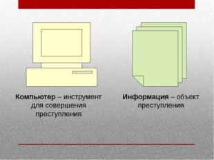 Информация – объект преступления Компьютер – инструмент для совершения престу