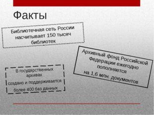 Факты Библиотечная сеть России насчитывает 150 тысяч библиотек Архивный фонд
