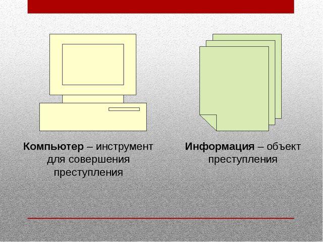 Информация – объект преступления Компьютер – инструмент для совершения престу...