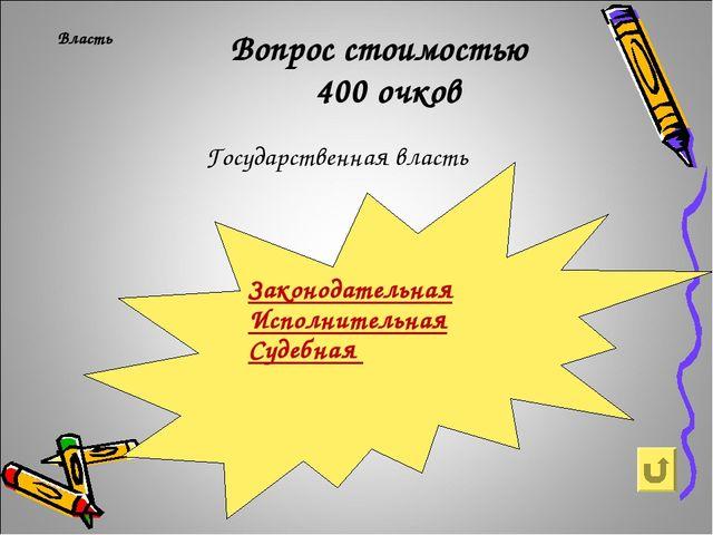 Власть Вопрос стоимостью 400 очков Государственная власть Законодательная Ис...