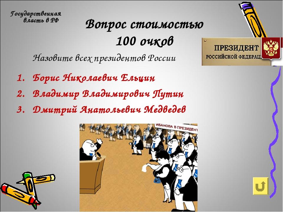 Вопрос стоимостью 100 очков Государственная власть в РФ Борис Николаевич Ельц...