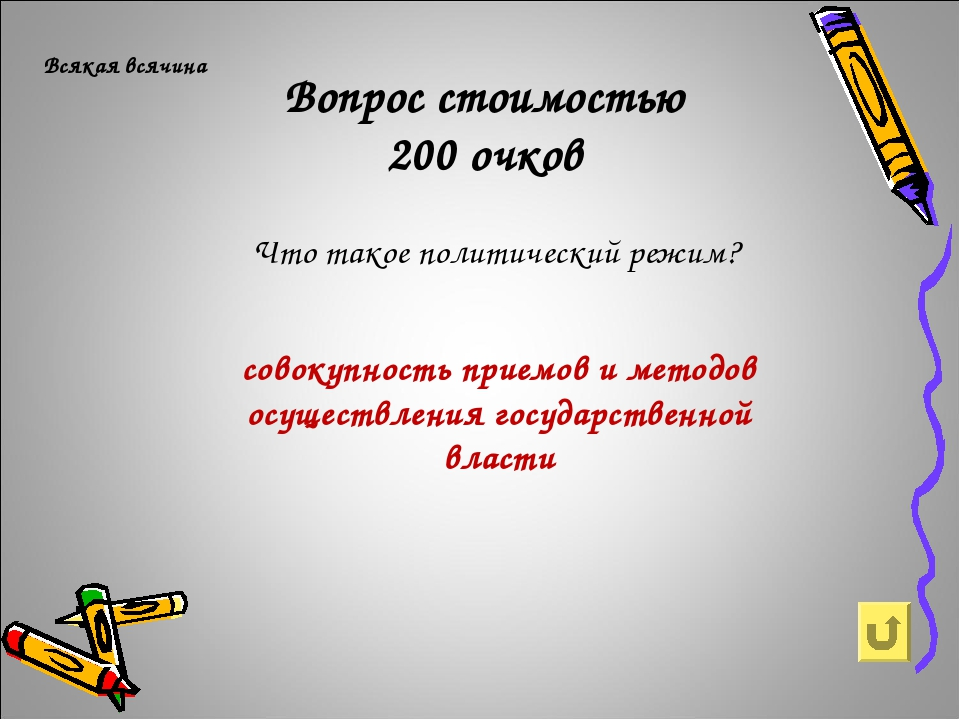 Вопрос стоимостью 200 очков Всякая всячина Что такое политический режим? сово...