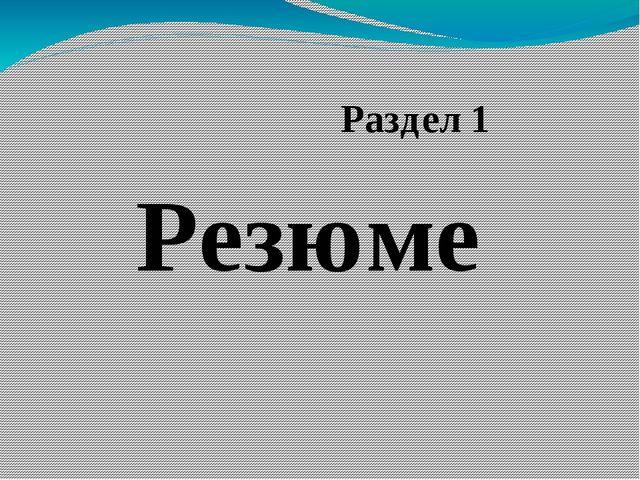 Резюме Раздел 1