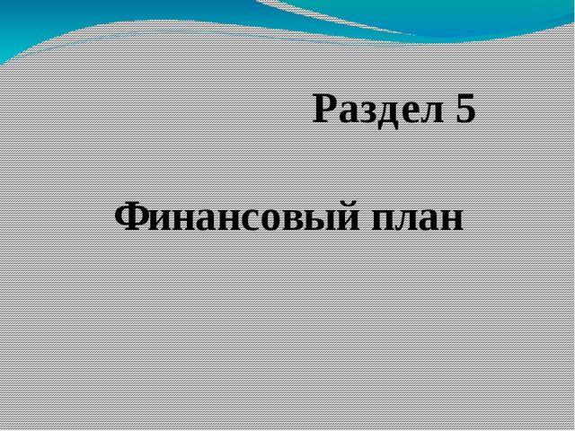 Финансовый план Раздел 5