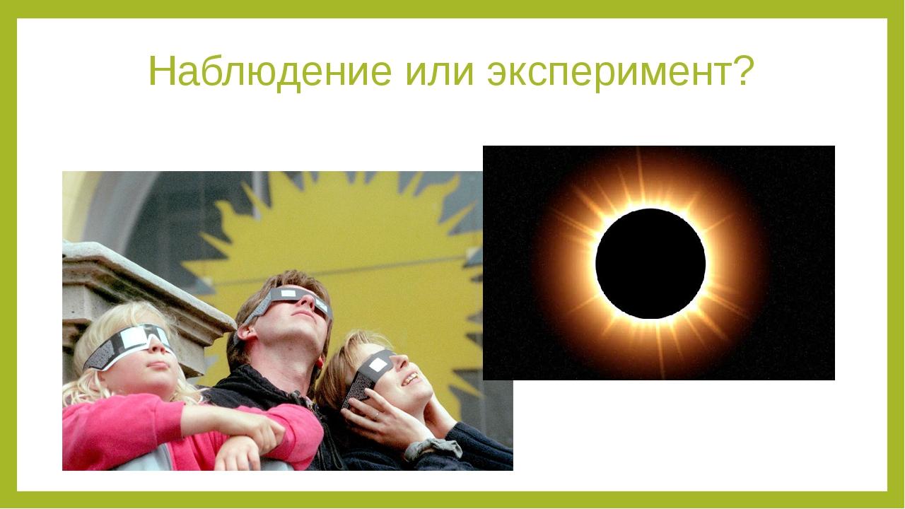 Наблюдение или эксперимент? Evgenya: чем отличается наблюдение от эксперимента?