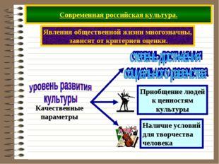 Современная российская культура. Явления общественной жизни многозначны, зави