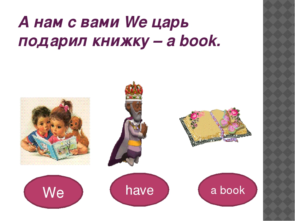 А нам с вами We царь подарил книжку – a book. We have a book