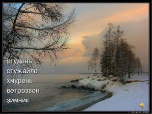 студень стужайло хмурень ветрозвон зимник