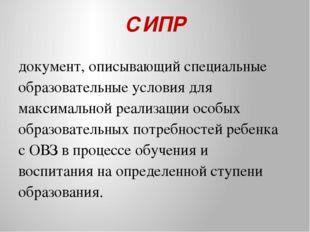 СИПР документ, описывающий специальные образовательные условия для максимальн