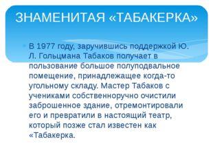 В 1977 году, заручившись поддержкой Ю. Л. Гольцмана Табаков получает в пользо