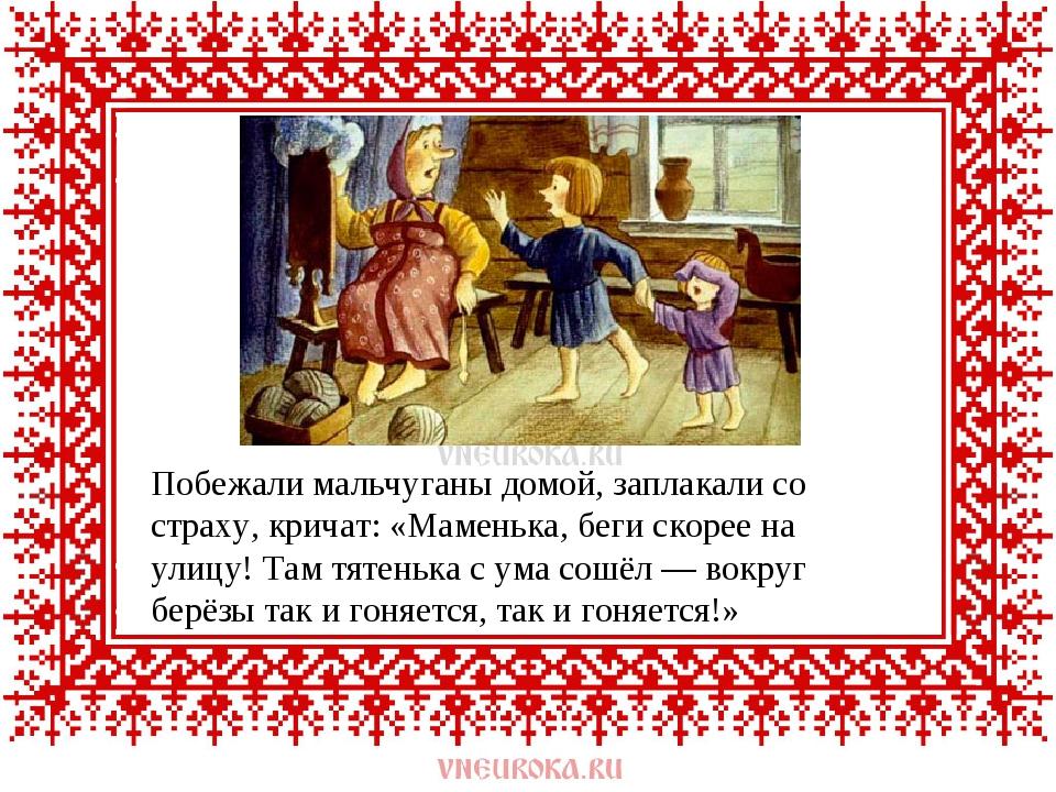 Побежали мальчуганы домой, заплакали со страху, кричат: «Маменька, беги скоре...