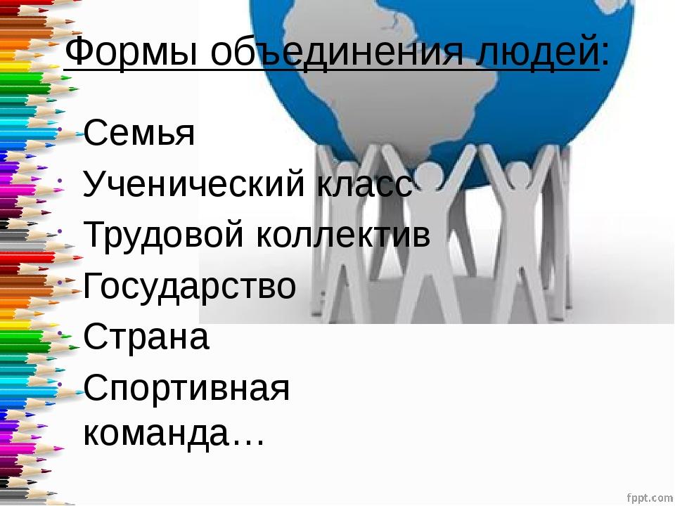 Формы объединения людей: Семья Ученический класс Трудовой коллектив Государст...