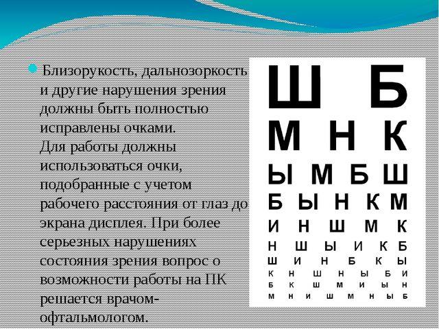 Близорукость, дальнозоркость и другие нарушения зрения должны быть полностью...