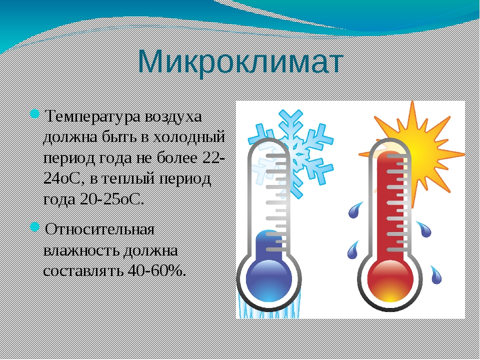 Микроклимат Температура воздуха должна быть в холодный период года не более 2...