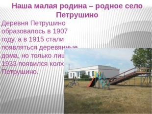 Наша малая родина – родное село Петрушино Деревня Петрушино образовалось в 19