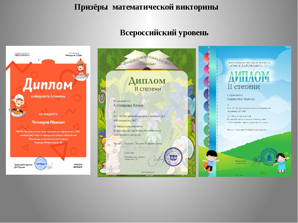 Призёры математической викторины Всероссийский уровень