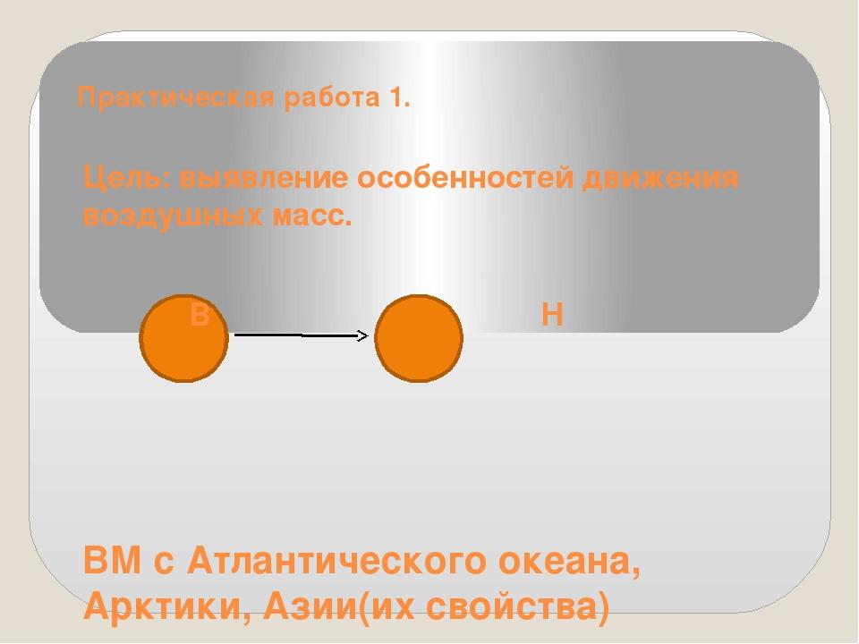 Практическая работа 1. Цель: выявление особенностей движения воздушных масс....